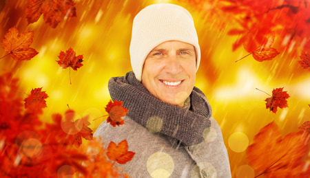 warm clothing: Casual man in warm clothing against park
