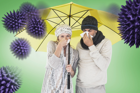 realtionship: Couple sneezing in tissue while standing under umbrella against green vignette
