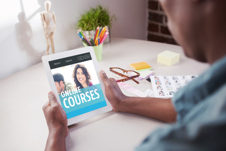 editor: Photo editor using tablet pc against online courses interface