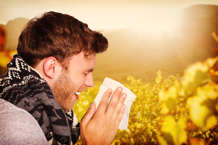 greenness: Close up side view of man blowing nose against greenness field of grapevine Stock Photo
