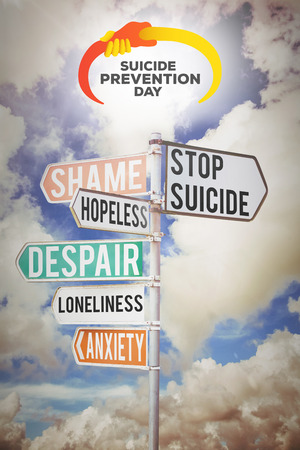 sign posts: suicide prevention day against multi colored sign posts against cloudy sky