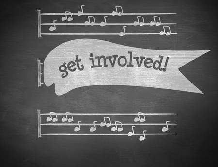 quaver: The word get involved! and music notes against black background