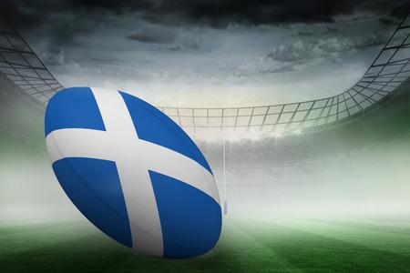 scottish flag: Scozzese bandiera di palla di rugby contro stadio di rugby Archivio Fotografico