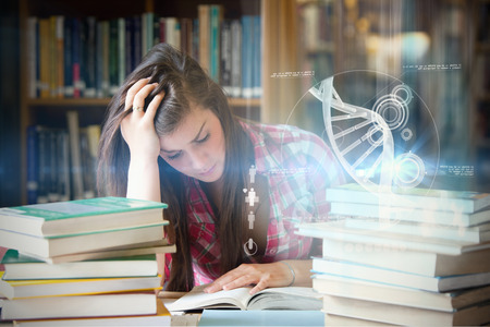 hopelessness: Illustration of DNA against focused student surrounded by books