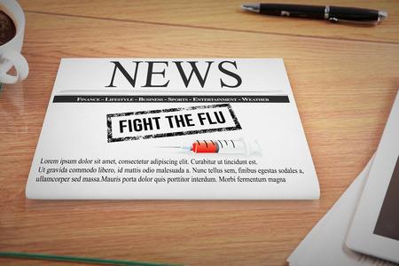 medical fight: Flu shot message against overhead of office desk