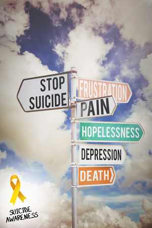 multi: Suicide awareness ribbon against multi colored sign posts against cloudy sky