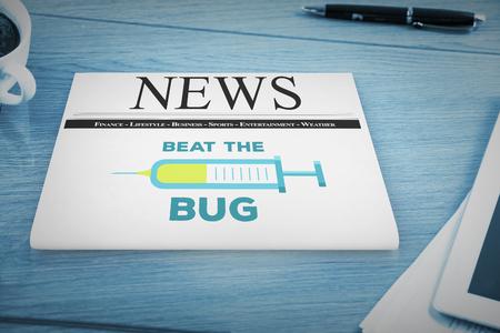 flu: Flu shot message against overhead of office desk