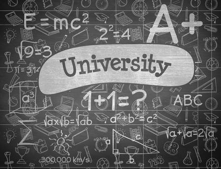 university word: The word university and school doodles against black background