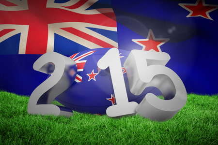 new zealand flag: New zealand rugby 2015 message  against new zealand flag against white background