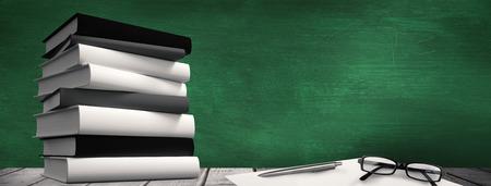 desk: Desk against green chalkboard