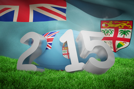 fiji: Fiji rugby 2015 message  against fiji flag over white background Stock Photo