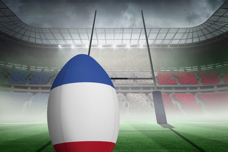 pitch: French flag rugby against rugby pitch Stock Photo
