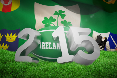 centenary: Ireland rugby 2015 message  against close-up of  irfu flag with the centenary logo