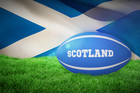 world sport event: Scotland rugby ball against flag of scotland