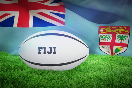 rugby: Fiji rugby ball against fiji flag over white background Stock Photo