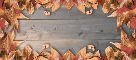 bleached: Autumn leaves pattern against bleached wooden planks background Stock Photo