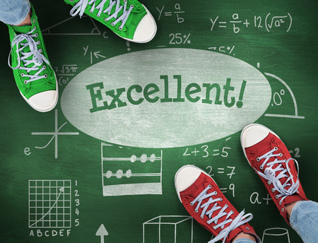 uitstekend: The word excellent! and casual shoes against green chalkboard