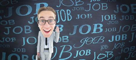 geeky: Geeky businessman  against blackboard Stock Photo