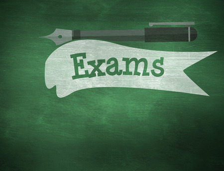exam: The word exams and fountain pen against green chalkboard Stock Photo