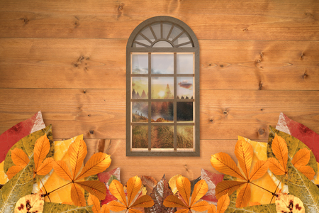 digitally generated image: Digitally generated image of arch window against country scene