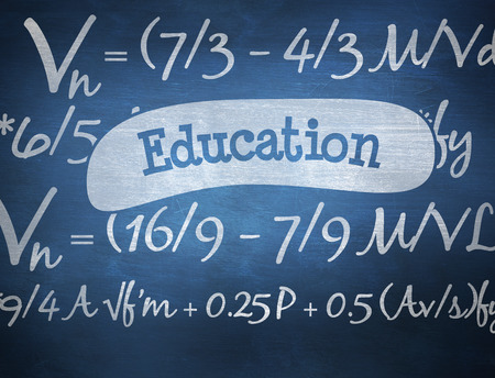 theories: The word education and maths equation against blue chalkboard Stock Photo