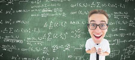 geeky: Geeky businessman with mug against green chalkboard