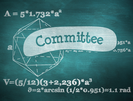committee: The word committee and geometry problem against green chalkboard