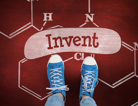 invent: The word invent and casual shoes against desk