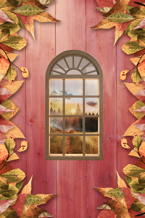 digitally generated image: Digitally generated image of arch window against autumn leaves on wood