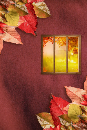 fall protection: Digital image of glass window against autumn leaves pattern