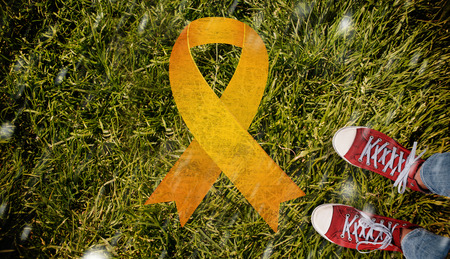 cancer foot: Casual shoes against grass background