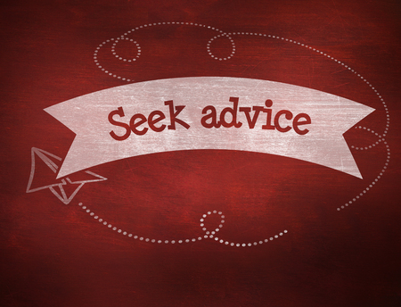 seek: The word seek advice and school graphics against desk