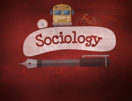sociologia: La palabra sociolog�a y de la escuela de gr�ficos contra el escritorio Foto de archivo