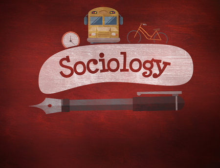 sociology: The word sociology and school graphics against desk