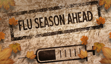 flu shot: Autumn leaves pattern against brown