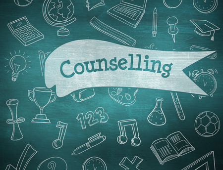 counselling: The word counselling and school doodles against green chalkboard