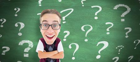 geeky: Geeky businessman  against green chalkboard