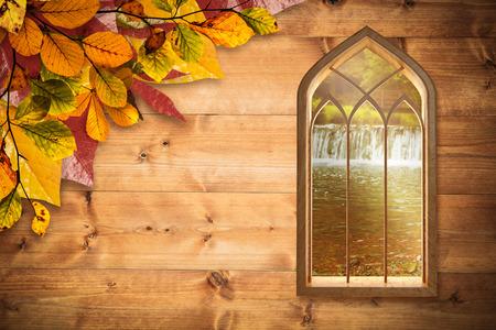autumn scene: Window against white background against autumn scene Stock Photo