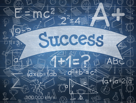 success word: The word success and school doodles against blue chalkboard