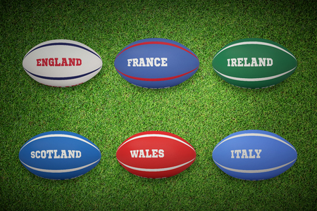 nations: Six nations rugby balls against close up view of astro turf