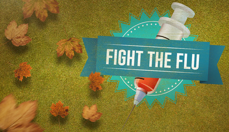medical fight: Autumn leaves pattern against green background Stock Photo