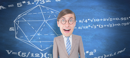 geeky: Geeky businessman  against blue chalkboard Stock Photo