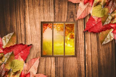 autumn scene: Digital image of glass window against autumn scene Stock Photo