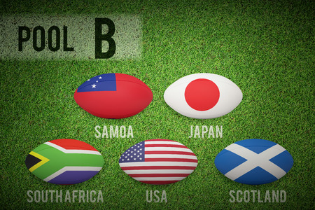b ball: Rugby world cup pool b against close up view of astro turf Stock Photo