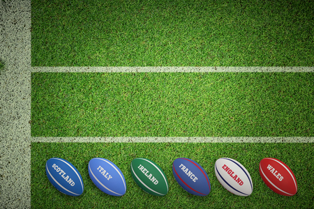 Six nations rugby balls against pitch with lines