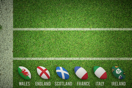nations: Six nations rugby balls  against pitch with lines