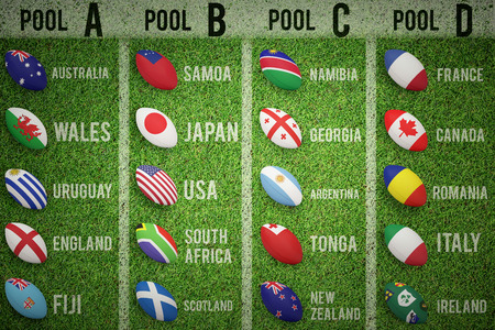 b ball: Rugby tournament pools against pitch with lines Stock Photo