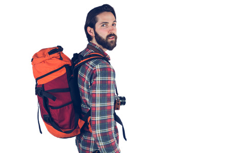 adventuring: Portrait of hiker against white background