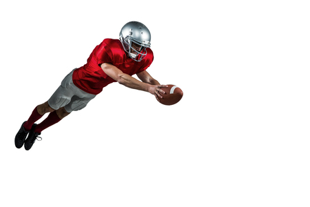 touchdown: American football player scoring a touchdown on white background
