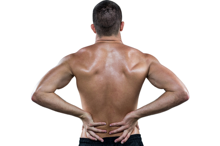 back sprains: Rear view of shirtless athlete with back pain against white background